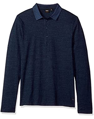 Men's Principle 2 Long Sleeve Polo with Jersey Denim Mix