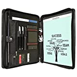 Cowhide Portfolio Organizer Padfolio Leather Case Card Folder Zippered for iPad Pro 12.9/10.5/9.7 inch, New Surface Pro (2017) 5/4/3, MacBook 12 inch/11.6'', Lettered Personalized Custom Engraved
