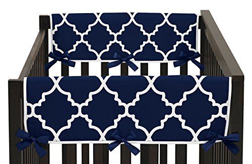 Navy Blue and White Modern Side Crib Rail Guards Baby Teething Cover Protector Wrap for Trellis Lattice Collection by Sweet Jojo Designs - Set of (Lattice Rail)
