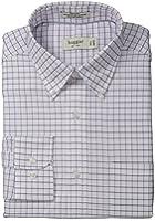 Haggar Men's Grid Fancy Pinpoint Oxford Long-Sleeve Regular-Fit Shirt