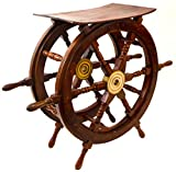 Nautical Decor Sheesham Wood Decorative Ship Wheel with Brass Center Home Decoration Gifts (Shipwheel Table)