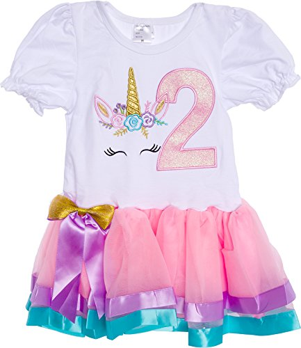 Silver Lilly Baby Girls Birthday Outfit Unicorn Rainbow Ribbon Tutu Dress for Toddlers (Light Pink Multi, Medium)