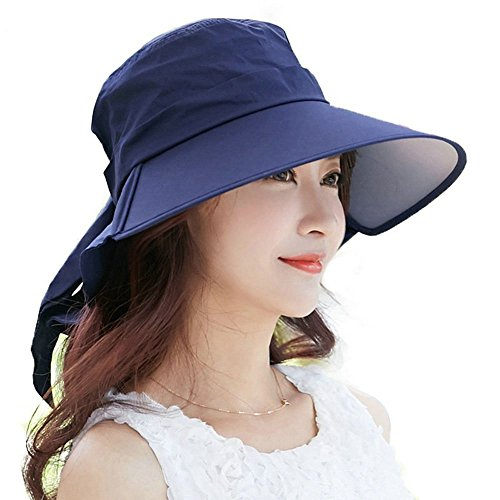 Siggi Summer Bill Neck Flap Hat UPF 50+ Cotton Sun Cap with Large Brim Shade for Women Navy