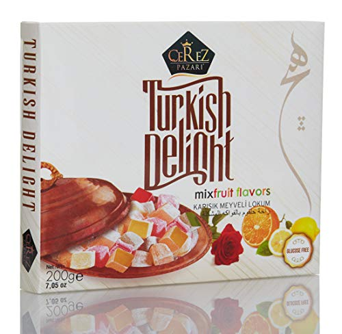 Turkish Delight with Fantastic Rose,Orange and Lemon Mix Flavors (No Nuts) Luxury %100 Hand Made Lokum Candy Dessert Gourmet Box (Approx.18 Pcs) 7 Oz