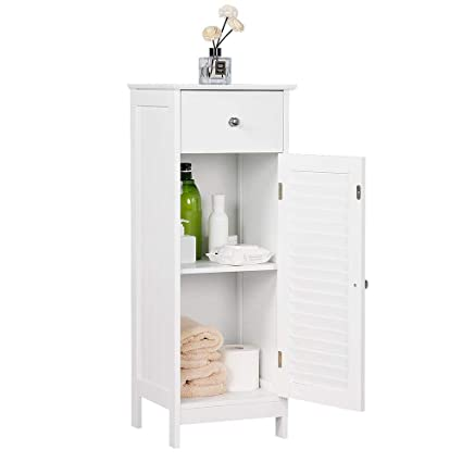 Yaheetech Tall Bathroom Storage Cabinet Free Standing Bedroom Hallway Side Cupboard Unit With Drawer Mdf White 32 X 30 87 Cm