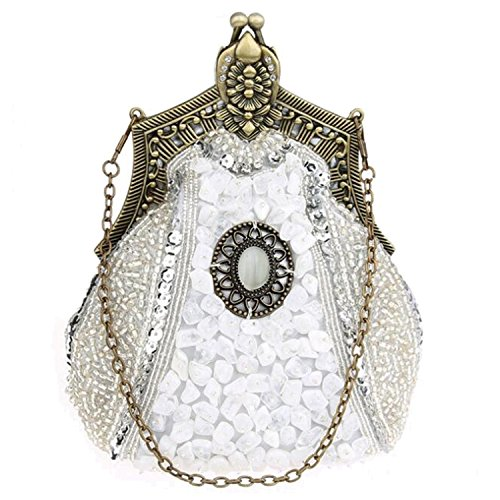 Rhinestone Clutch Handbags Beaded Purse Retro Women Satin Evening Bags EPLAZA Party Silver Sequin UqOw5