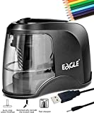 PEMENOL Electric Pencil Sharpener Colored Pencils Heavy-duty for Classroom Kids Office Art Drawing Home Adults,Helical Blade to Fast Sharpen,Battery Operated,USB or Power Adapter,Black(USB Included)
