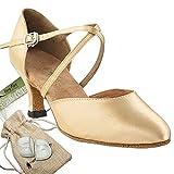 Women's Ballroom Dance Shoes Tango Wedding Salsa Dance Shoes Light Brown Satin 9691EB Comfortable - Very Fine 2.5'' Heel 7 M US [Bundle of 5]