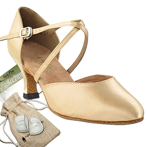 Women's Ballroom Dance Shoes Tango Wedding Salsa Dance Shoes Light Brown Satin 9691EB Comfortable - Very Fine 2.5