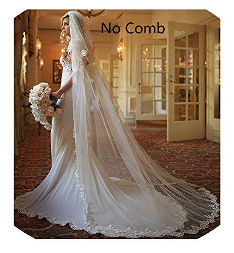 Sarahbridal 1 Tier 3M Long Lace Ivory Wedding Cathedral Long Veil Ivory