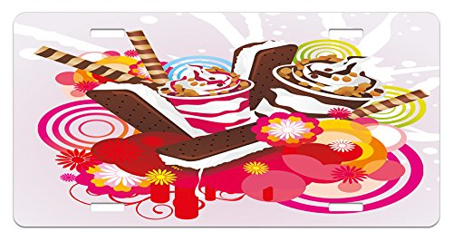 Ambesonne Ice Cream License Plate, Mixed Yummy Desserts with Exotic Flowers and Flavors Summer Taste Tropical Theme, High Gloss Aluminum Novelty Plate, 5.88 L X 11.88 W Inches, Multicolor