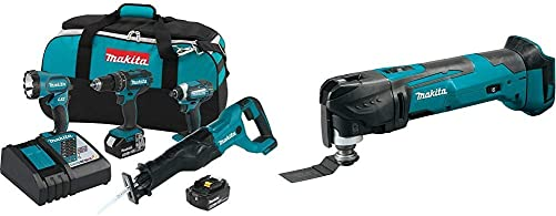 Makita XT440 18 Volt LXT Lithium-Ion Cordless 4-Pc. Combo Kit 3.0Ah with XMT03Z 18V LXT Lithium-Ion Cordless Multi-Tool