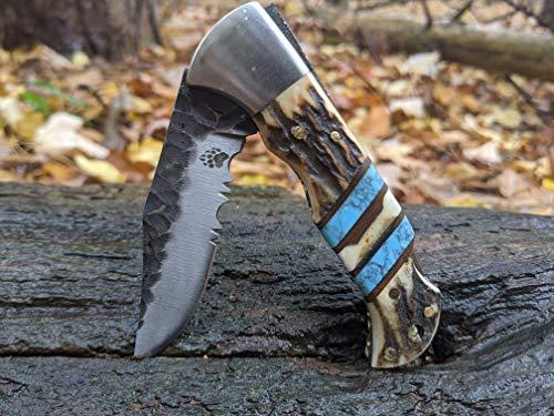 Deer Antler Blue Turquoise Handle Folding Pocket Knife Personalized Engraving Engraved Belt Clip Leather Sheath Stag Horn NR02-1