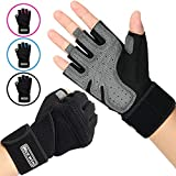 NICEWIN Unisex Padded Weight Lifting Gloves Work Gloves with Wrist Support for Fitness Exercise Gym Outdoor Black XL