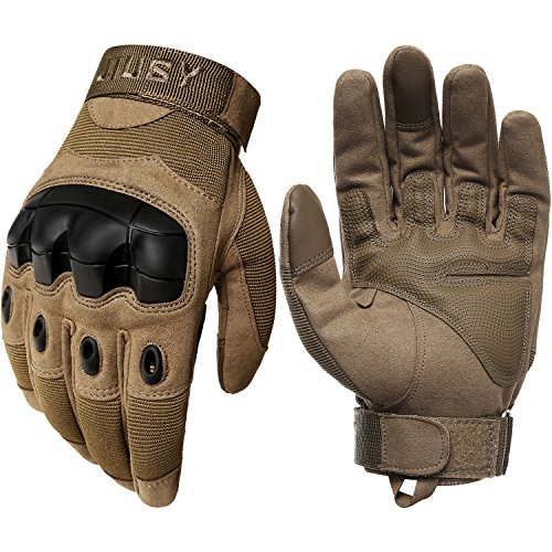JIUSY Military Rubber Hard Knuckle Tactical Gloves Full Finger Airsoft Paintball Outdoor Army Gear Sports Cycling Motorcycle Riding Shooting Hunting Size Large Brown