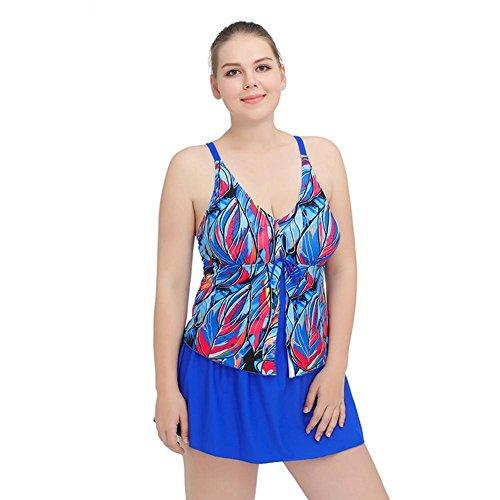 MIAO Añadir Fertilizantes para aumentar la grasa de una pieza de falda estilo traje de baño de tamaño oscuro de impresión de gran tamaño Beach Swimwear Blue
