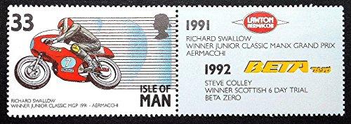 Motorbike Framed (Richard Swallow Winner Junior Classic Manx Grand Prix Aermacchi Motorcycles & Motorbikes -Framed Postage Stamp)