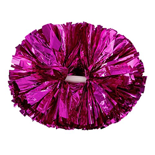 Cheerleading Poms Balls, Inkach Metallic Foil Plastic Ring Pom Poms Cheerleader Sports Cheerleading Balls Party Costume (Hot pink)