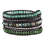 KELITCH Mix Beaded with Metal Bead Bracelet on Leather 5 Wrap Bracelet Handmade New Top Jewelry (Grass Green)