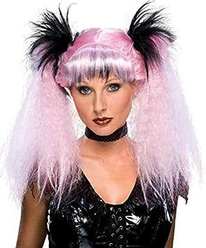 Peluca Punk Gótica Larga Rosa y Negro