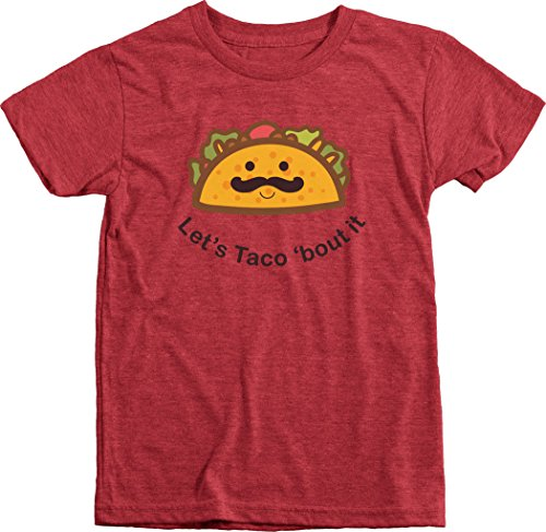 Trunk Candy Let's Taco Bout It Kid's Premium Tri-Blend T-Shirts (Vintage Red, XS(4/5)) (Shirts Tee Trunk)