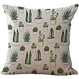 Funda de Cojín Almohada Lino Caso Algodón Impresión de Cactus Tropical Decoración Coche Casa - 6#