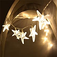 Romani Tech 20 Led Battery Operated Fairy Lights Starfish Shaped Outdoor Garden Patio String Lights for Beach Holiday Decoration (Warm White)