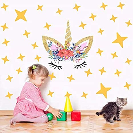 Cocobee Unicorn Wall Stickers Rainbow Colors Wall Decals Reflective Wall Stickers for Girls Bedroom Playroom Decoration (Pink Unicorn and Stars, Right)