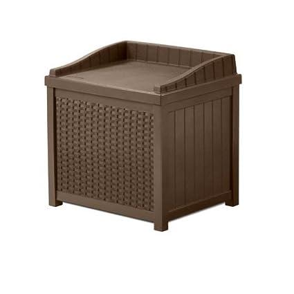 Genial Porch Storage Box 22 Gallon Lidded Seat Java Patio Resin Rattan Outdoor  Pool Towels Cushion Small