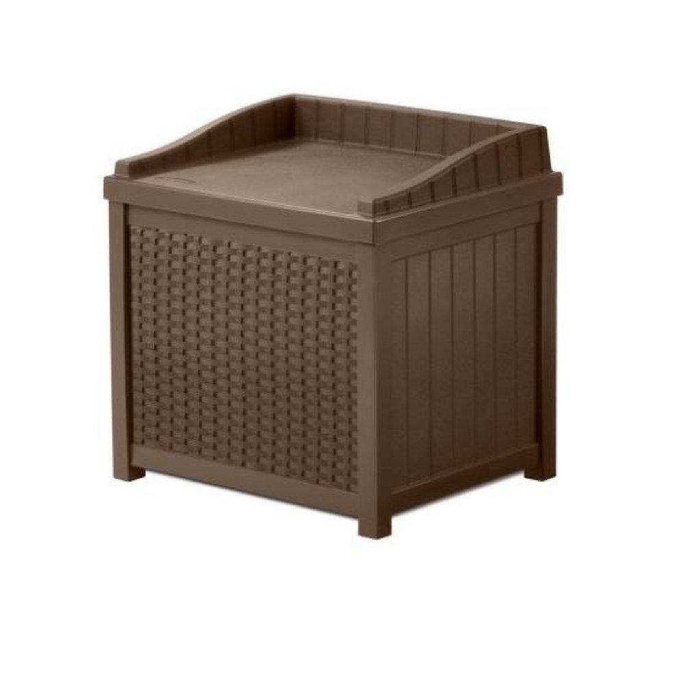 Porch Storage Box 22 Gallon Lidded Seat Java Patio Resin Rattan Outdoor Pool Towels Cushion Small Container Yard Garden Hose Waterproof Case Organizer Decorative & eBook By JEFSHOP.