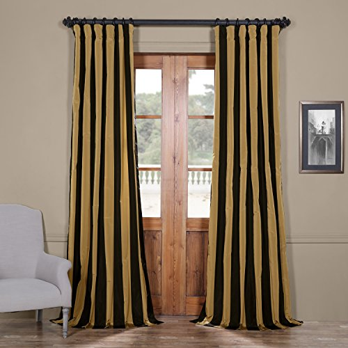 Half Price Drapes PTSCH-11083-108 Faux Silk Taffeta Stripe Curtain, Regency