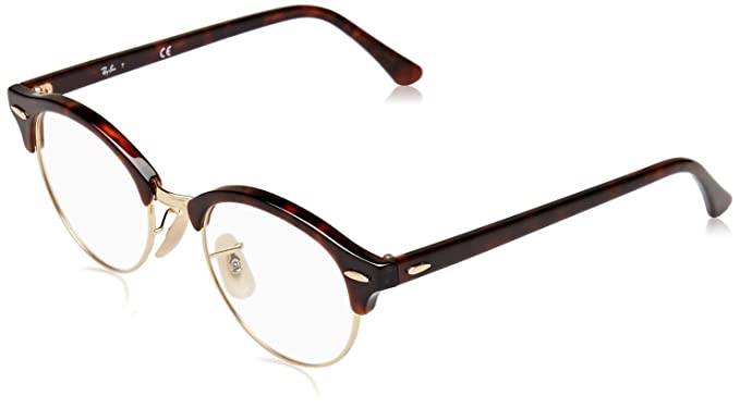 babf3e9db6 Image Unavailable. Image not available for. Color  Ray-Ban Unisex RX4246V Clubround  Eyeglasses Red Havana 47mm