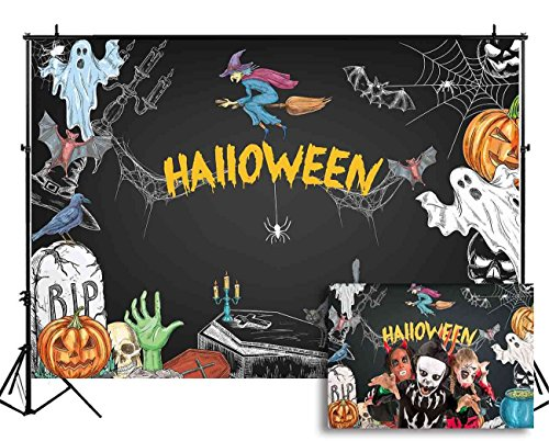 (Funnytree 7X5ft Halloween Party Backdrop Cartoon Chalkboard Photography Background Pumpkin Witch Ghost Spiderweb Blackboard Kids Portrait Photobooth Photo Studio Props)