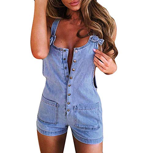 TIMEMEANS Jumpsuit Womens Cowboy Pocket Holiday Playsuit Trousers Beach Blue
