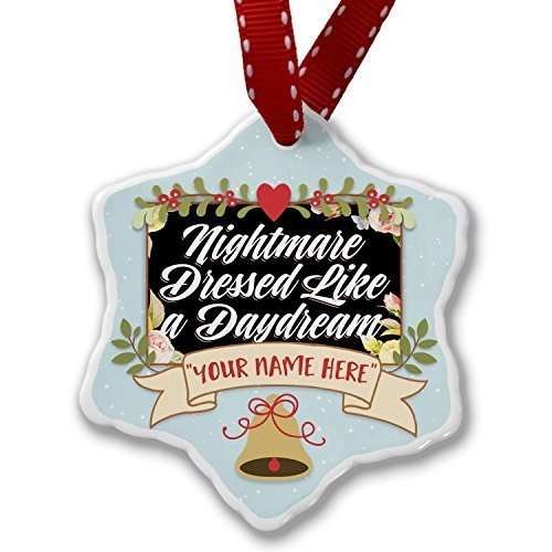 Lionkin8 Floral Border Nightmare Dressed Like A Daydream Personalized Add Your Own Custom Name Christmas Ornament Holiday Xmas Tree Decorative - 3 ()