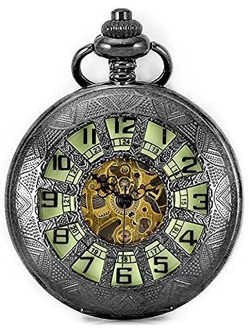 Carrie Hughes Men Baroque Steampunk Luminous dial Pendant Skeleton Mechanical Pocket watch with chain Gift box (12 (Mechanical Pocket Watch Engraved)