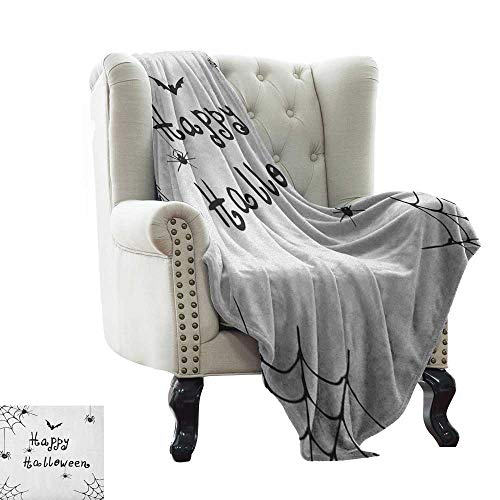 Anyangeight Spider Web, Blankets King Size, Happy Halloween Celebration Monochrome Hand Drawn Style Creepy Doodle Artwork, Custom Design Cozy Flannel Blanket, (W90 x L110 Inch Black White]()