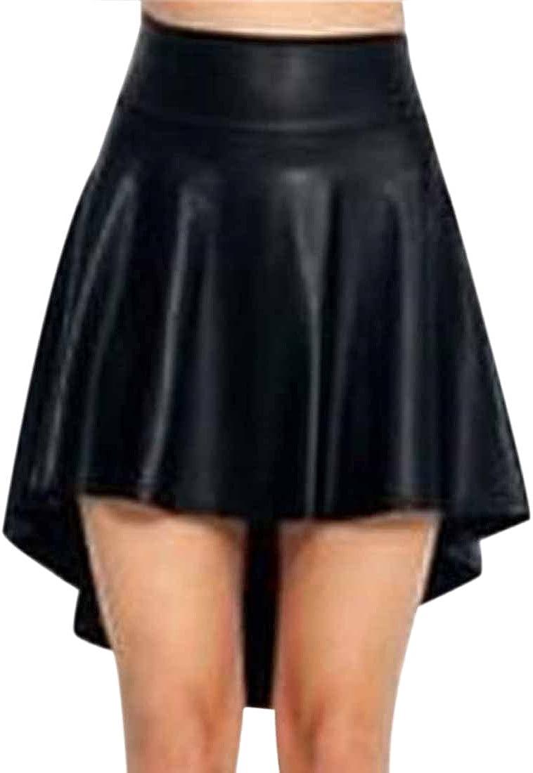 QIYUN.Z Mujeres Llenas De Imitacion De Cuero con Pliegues Irregulares Faldas del Dobladillo De Cola Bifurcada