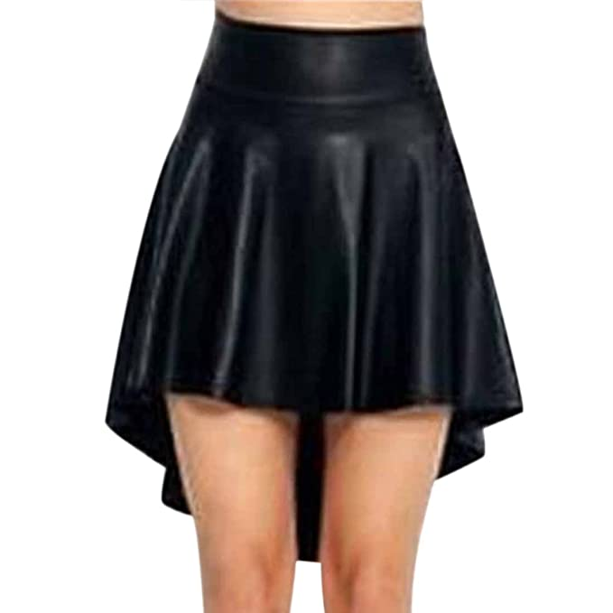 WanYangg Donna Gonna di Pelle A Vita Alta Bendare Wrap Minigonna in Ecopellee Corto Mini Gonna