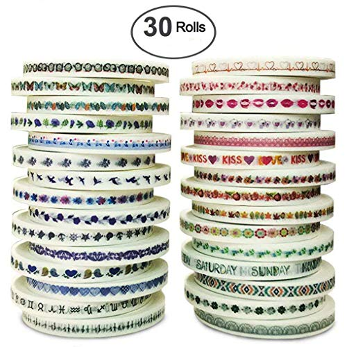 iMustech Washi Tape Set, Colorful Decorative Masking Tapes Great for Arts DIY Crafts Festival Gife Wrapping, 5mm (W) x 23Ft (L) x 30 Rolls