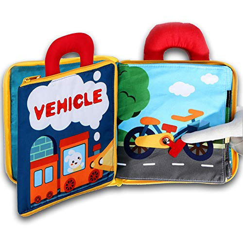 My Quiet Book 10 Scene learn Sensory and Identify,3D Vehicle Cloth Books Soft for Babies, Toddlers,Infant,Washable Felt Activity Fabric Travel Busy Toy Touch and Feel Crinkle Texture
