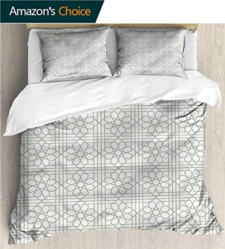 Style 3D Digital Print Bedding Sets,Box Stitched,Soft,Breathable,Hypoallergenic,Fade Resistant Print Duvet Cover Sets Soft Microfiber 3Pcs Quilt Cover-Grey Arabesque Mosaic Tiles (80