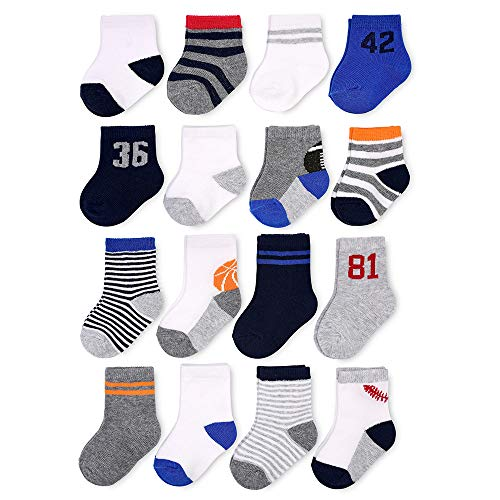Goldbug Kids 16-Pack Grow-With-Me Socks - Multi Size Pack - Cotton Stretch Non-Slip Gripper Socks (0-3 & 3-12 Months, Sport) ()