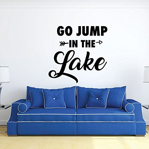 - Go Jump In The Lake Vinyl Decal - Outdoor and Nature-Themed Wall Sticker for Cabins, Cottages, Summer Camps, Home Decor