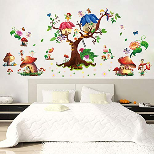 Wings Cottage - ZYBKOG Wall Sticker Butterfly Elf Fantasy Mushroom Cottage Wall Stickers Cartoon Wings Angel Tree Children'S Bedroom Removable Self-Adhesive Mural