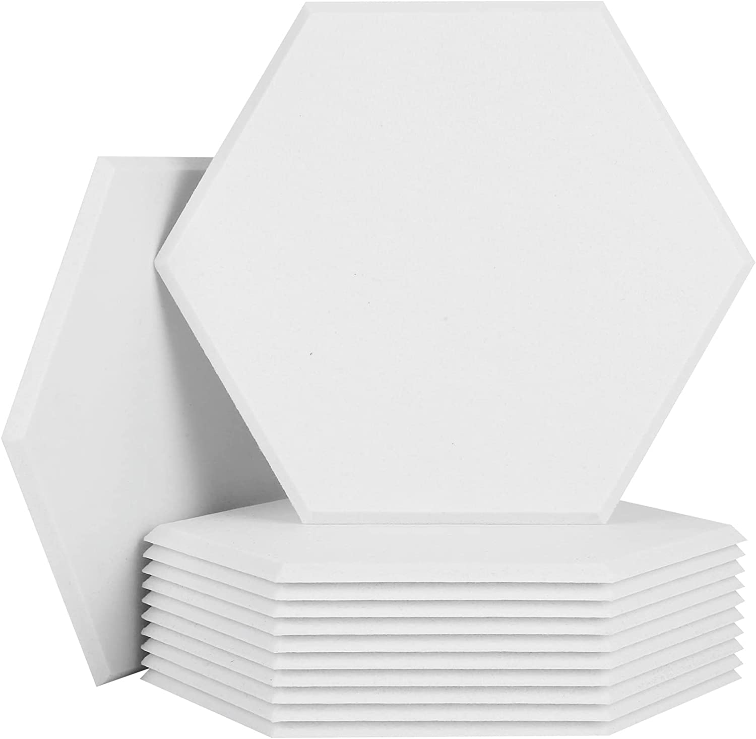 BUBOS 12 Pack Hexagon Acoustic Panels Soundproof Wall Panels,14 X 13 X 0.4Inches Sound Absorbing Panels Acoustical Wall Panels, Acoustic Treatment for Recording Studio, Office, Home Studio,White