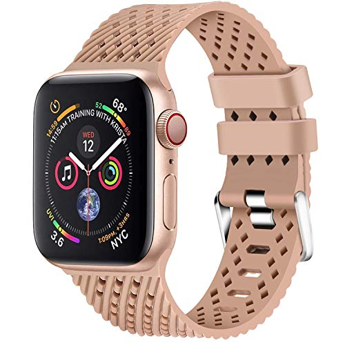 01 Apple - Lwsengme Compatible with Apple Watch Band (S/M M/L),Choose Color,Soft Rubber Replacement Sport Wristbands Compatible with Apple Watch Series 4/3/2/1(38mm/40mm-Color 01-Small)