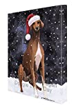 Let it Snow Christmas Holiday Azawakh Dog Wearing Santa Hat Canvas Wall Art D217 (18x24)
