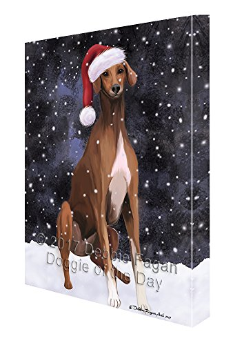 Let it Snow Christmas Holiday Azawakh Dog Wearing Santa Hat Canvas Wall Art D217 (11x14) by Doggie of the Day
