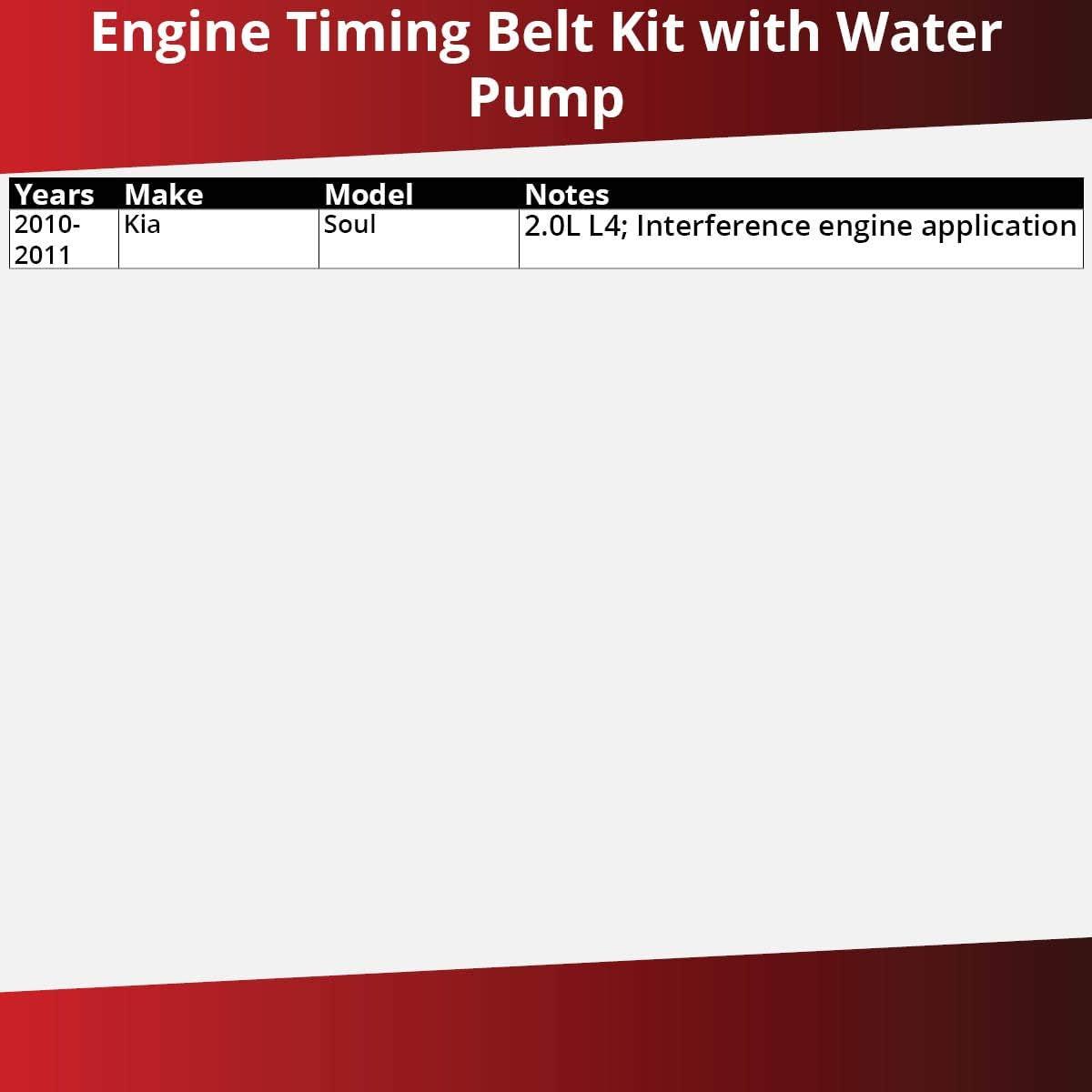 Engine TCKWP OE Upgrade Tensioner Idler Pulley Gates Timing Belt Water Pump Kit for 2010-2011 Kia Soul 2.0L L4